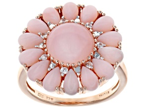 Pink Opal 18k Rose Gold Over Silver Ring 0.20ctw