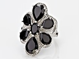Black Spinel Rhodium Over Silver Ring 10.63ctw