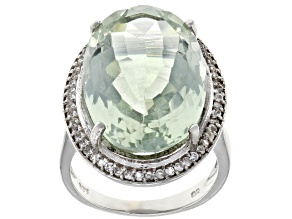 Green Praisolite Rhodium Over Sterling Silver Ring 20.25ctw