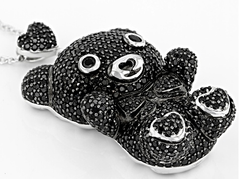 Black Spinel Rhodium Over Silver Teddy Bear Pendant With Chain 5.80ctw