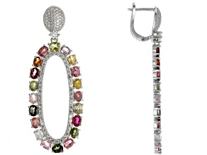 Mixed Color Tourmaline Rhodium Over Silver Earrings 10.07ctw