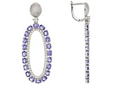Blue Tanzanite Rhodium Over Silver Dangle Earrings 8.49ctw