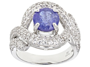 Blue Tanzanite Rhodium Over Silver Ring 4.10ctw