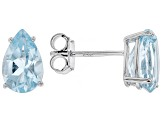 Sky Blue Topaz Rhodium Over Silver Stud Earrings 2.93ctw