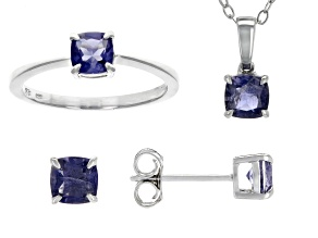 Blue Iolite Rhodium Over Silver Jewelry Set 1.75ctw