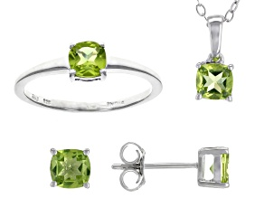 Green Peridot Rhodium Over Silver Jewelry Set 1.75