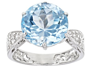 Blue Topaz Rhodium Over Sterling Silver Ring 6.75ctw