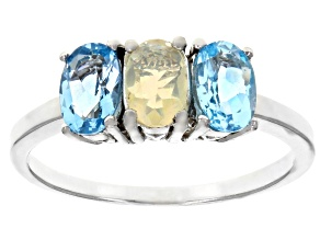 Swiss Blue Topaz Rhodium Over Silver Ring 1.30ctw