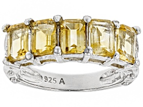 Yellow Citrine Rhodium Over Silver Ring 2.85ctw
