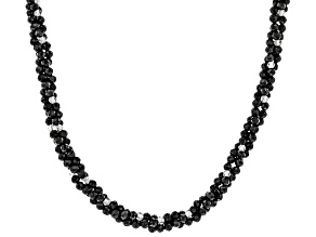 Black Spinel Bead Rhodium Over Silver Torsade Necklace 50.0ctw