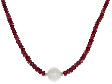 Red Mahaleo® Ruby Rhodium Over Silver Necklace 50.00ctw