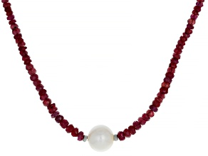 Red Ruby Rhodium Over Silver Necklace 50.00ctw