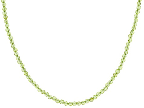 Green Peridot Bead Rhodium Over Silver Necklace  30.00ctw
