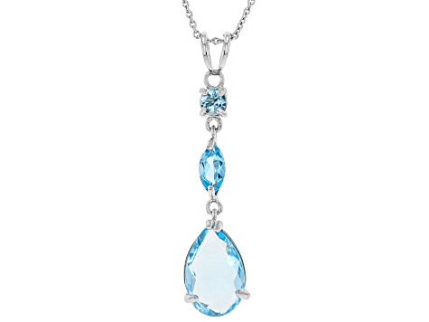 Sky Blue Topaz Rhodium Over Silver Pendant With Chain 5.00ctw