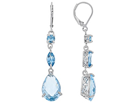 Sky Blue Topaz Rhodium Over Silver Earrings 10.38ctw