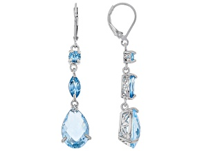 Blue Topaz Rhodium Over Silver Earrings 10.38ctw