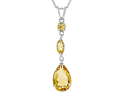 Orange Citrine Rhodium Over Sterling Silver Pendant 4.00ctw