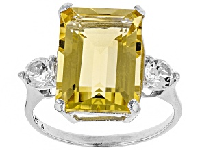 Yellow Brazilian Citrine Rhodium Over Sterling Silver Ring 8.62ctw