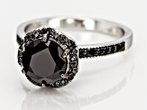 Black Spinel Rhodium Over Sterling Silver Ring 2.64ctw