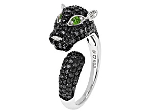 Black Spinel Rhodium Over Silver Panther Ring 1.63ctw