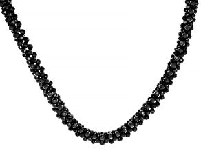 Black Spinel Sterling Silver Beaded Necklace Approximately 142.91ctw