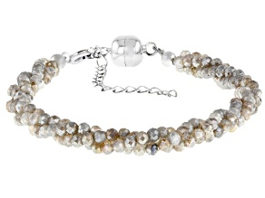Gray Labradorite Rhodium Over Sterling Silver Beaded Bracelet
