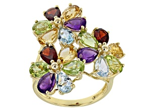 Multi-Gem 10k Gold Cluster Ring 7.93ctw