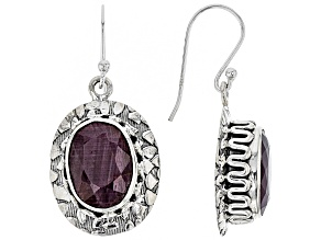 Red Ruby Silver Dangle Earrings 12.72ctw