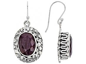 Red Ruby Silver Dangle Earrings 12.72ctw