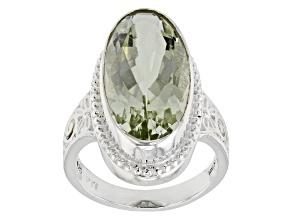 Green Prasiolite Rhodium Over Sterling Silver Ring 9.03ct