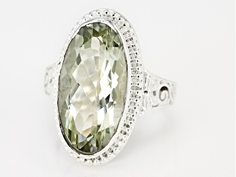 Green Prasiolite Rhodium Over Sterling Silver Ring 9.03ct