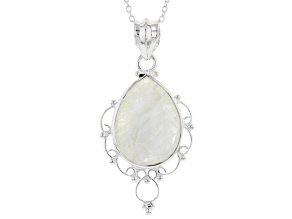 "White Rainbow Moonstone Sterling Silver Pendant With 18"" Cable Chain"