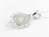 White Rainbow Moonstone Sterling Silver Pendant With Chain