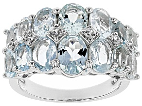 Blue Aquamarine Rhodium Over Silver Ring 5.88ctw