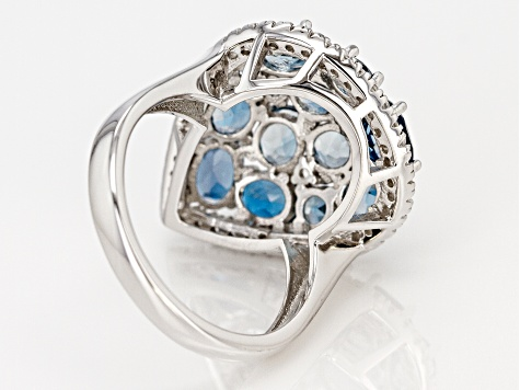 London Blue Topaz Rhodium Over Silver Ring 4.42ctw