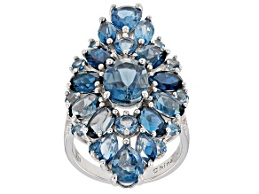 London Blue Topaz Rhodium Over Silver Ring 12.82ctw