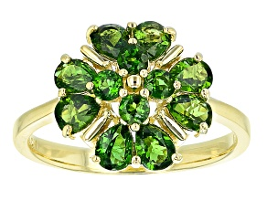 Green Chrome Diopside 18k Gold Over Silver Clover Ring 1.82ctw
