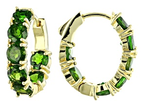 Green Chrome Diopside 18k Yellow Gold Over Silver Inside/Outside Hoop Earrings 8.68ctw