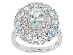 Blue Aquamarine Rhodium Over Silver Ring 4.17ctw