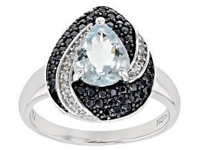 Blue Aquamarine Rhodium Over Silver Ring 2.28ctw