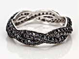 Black Spinel Rhodium Over Silver Ring 1.99ctw