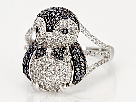 Black Spinel Rhodium Over Silver Penguin Ring 1.64ctw