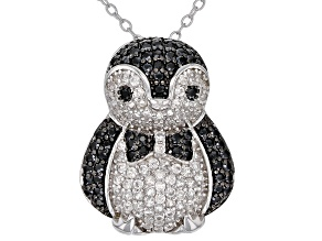 Black Spinel Rhodium Over Silver Penguin Pendant With Chain 1.28ctw