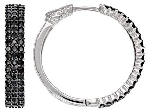 Black Spinel Rhodium Over Silver Hoop Earrings 3.40ctw