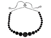 Black Spinel Rhodium Over Silver Bolo Bracelet 6.45ctw
