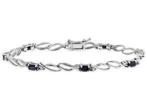 Blue Sapphire And White Diamond Sterling Silver Bracelet 2.46ctw