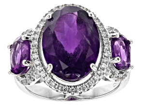 Purple African Amethyst Rhodium Over Silver Ring 6.16ctw