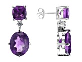 Purple African Amethyst Rhodium Over Silver Earrings 5.88ctw