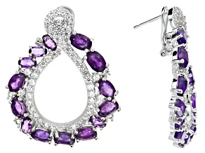 Purple African Amethyst Rhodium Over Silver Earrings 13.60ctw