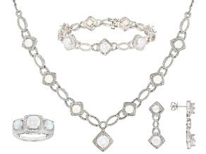 White Square Cushion Lab Opal Rhodium Over Brass Jewelry Set 6.61ctw